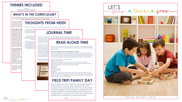 What's Included in the Let's Play Learn Grow Preschool Curriculum