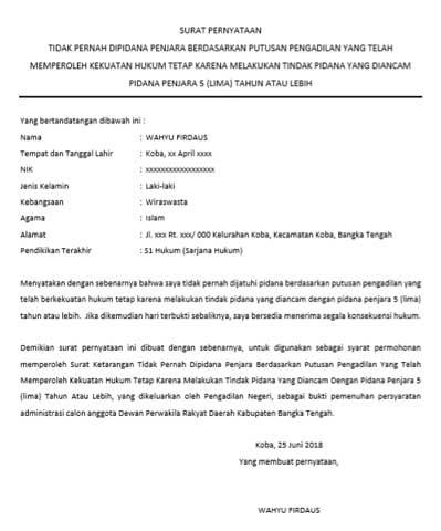 Contoh Surat Pernyataan Tidak Pernah di Pidana