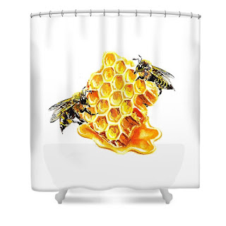 Watercolor painting of honeycomb bee on curtain by the artist Irina Sztukowski