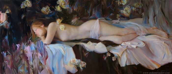 Saidov Aydemir 1979   Russian Realist painter   Sleeping beauty
