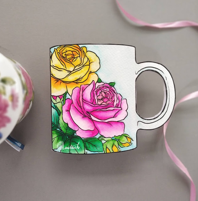 Shaped card, floral card, Coffee tea theme card, watercolored roses, STAMPlorations Digital stamps, Quillish