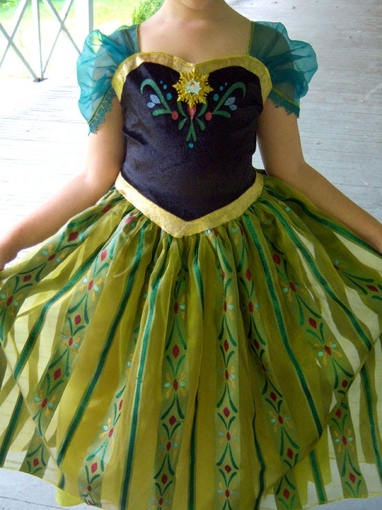 Disney Frozen Costume: Anna's Coronation Gown close-up