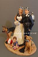 statuine sposi cake topper pastore tedesco statuette sposi con bambini orme magiche