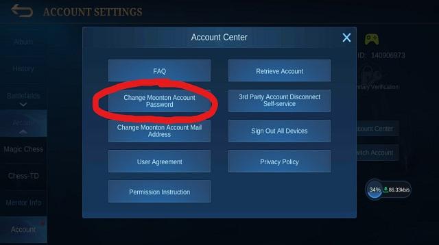 Cara Ganti Password Akun Moonton