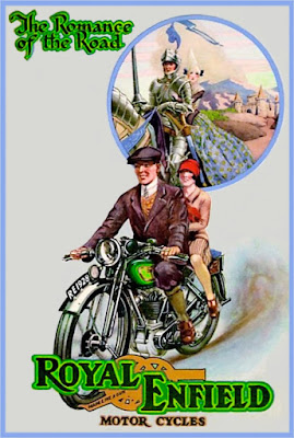 Period advertisement shows couple on Royal Enfield motorcycle.