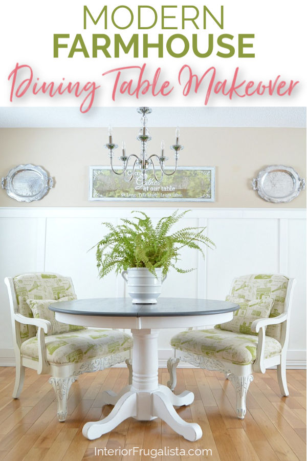 How to give a 90s pedestal oak dining table a drab to fab Modern Farmhouse makeover by painting the base a cool white and staining the top dark gray. #modernfarmhousestyle #greyandwhitediningtable #furnituremakeover