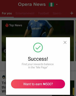 Get up to ₦1000 Free Airtime Daily Using Opera News app
