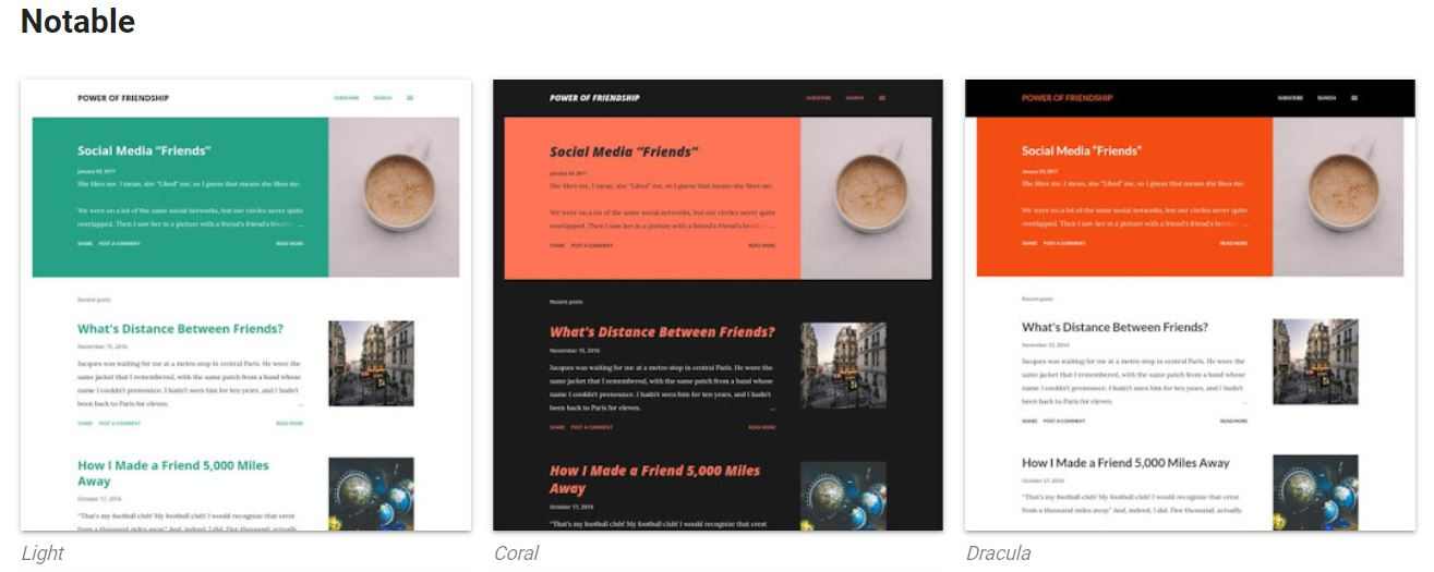 Notable Blogger theme