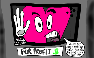 Anti Valentines Day capitalism anti-capitalism cartoon political satire love vs fear ego vs soul Erica Crooks anarchist Anarchism Anarchy cartoon comic web comic comics cartoons funny dark comedy humor humour