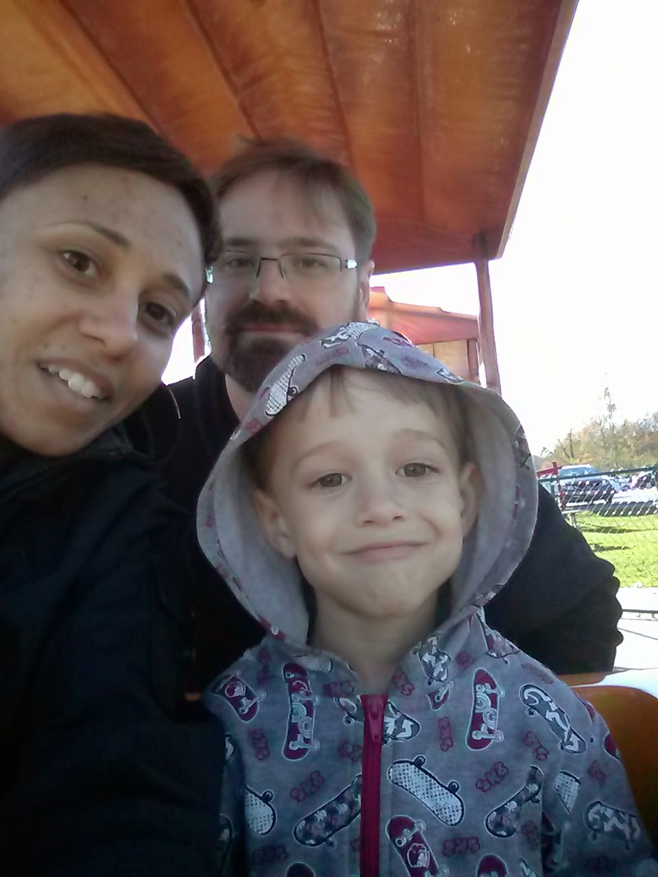 family selfie on Big Apple Colborne train copyright 2014 OneQuarterMama.ca