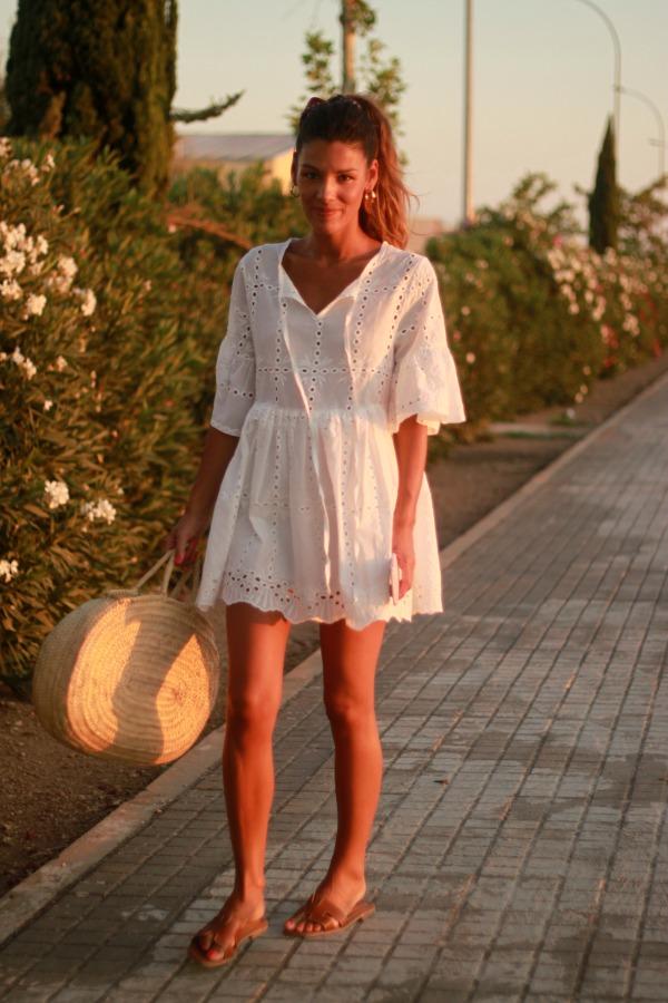 Vestido blanco, vestido calado, vestido bordado
