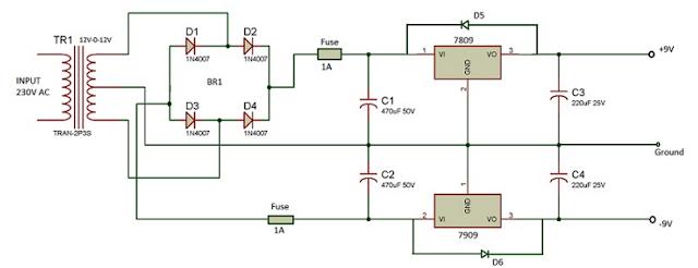 الدائرة الالكترونية مصدر تغذية بجهد -9 و+9 فولت DC باستخدام 7809 و7909