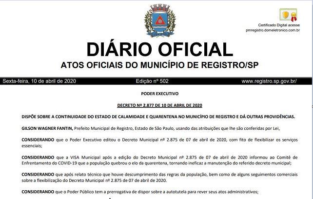 Prefeitura de Registro-SP divulga novas medidas para o enfrentamento ao Covid-19, válido a partir deste sábado 11/04