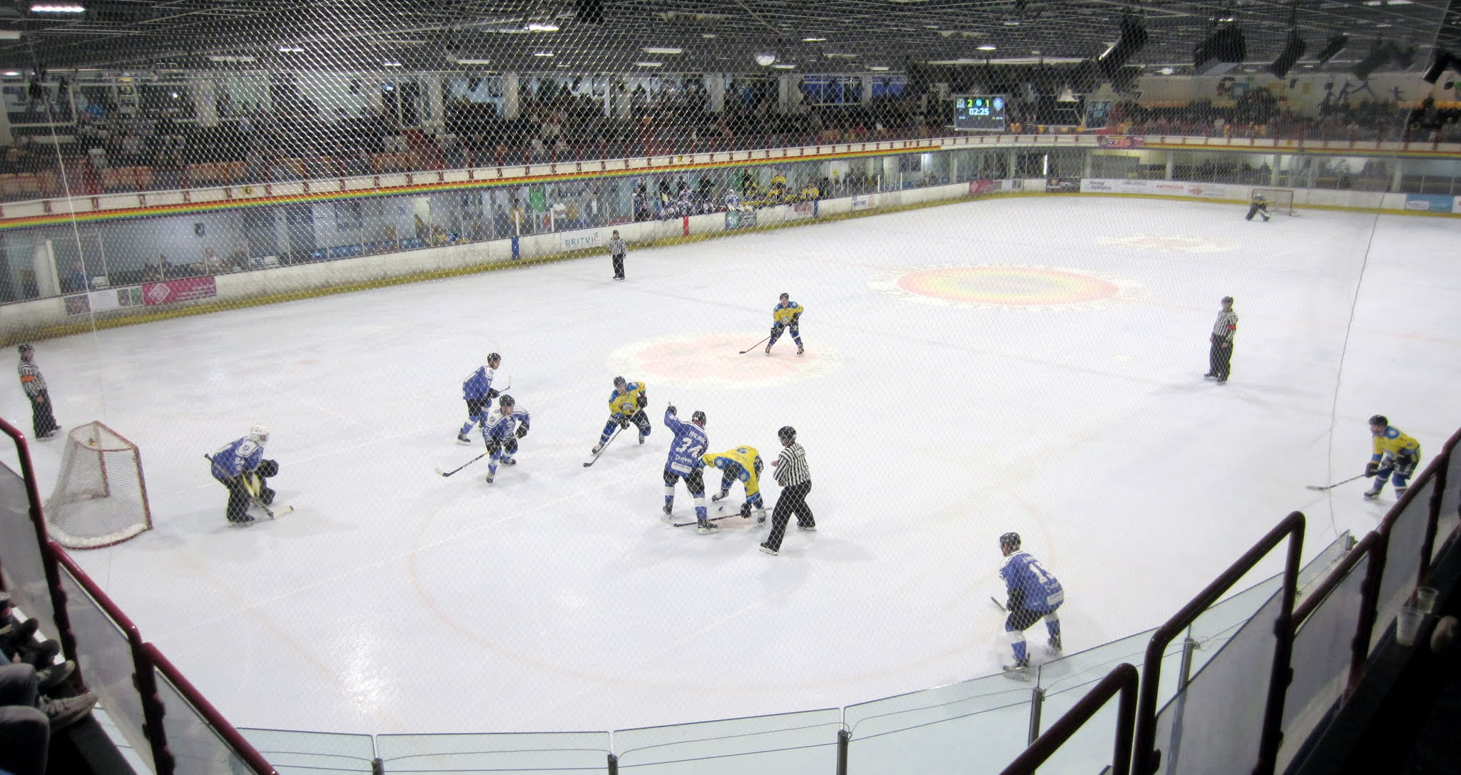 Behind the netting at Bracknell Ice Rink
