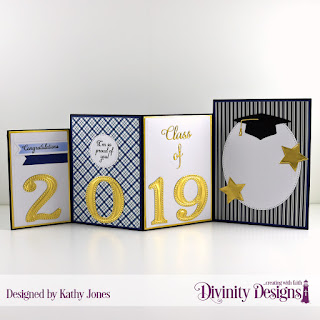 Stamp Set:  Dream Big Paper Collection:  Menswear Material Custom Dies:  Four Panel Card with Layers, Sparkling Stars, Grad, Circles, Pierced Circles, Belly Band, Pennant Flags, Large Numbers, Pierced Ovals