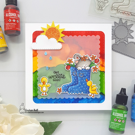 Get Wellie Soon Card by Andrea Shell | Newton's Rain Boots Stamp Set, Sky Scene Builder Die Set and Frames Squared Die Set by Newton's Nook Designs #newtonsnook #handmade