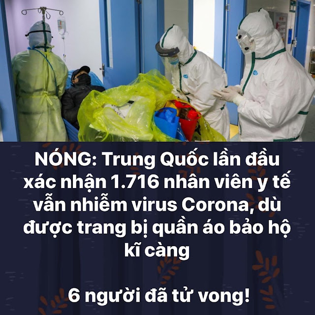 Trung Quốc xác nhận 1.716 nhân viên y tế nhiễm virus Corona, 6 người đã tử vong!