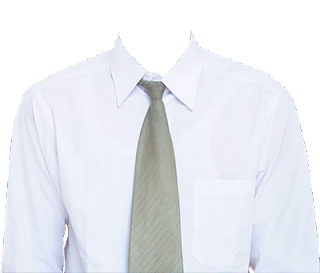 Preview template kemeja putih transparan dasi krem