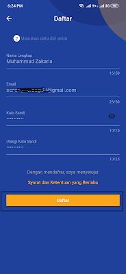 cara daftar dari aplikasi Fifada Android
