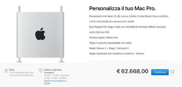 Mac Pro: in vendita da oggi il potentissimo desktop Apple da 62.000 euro