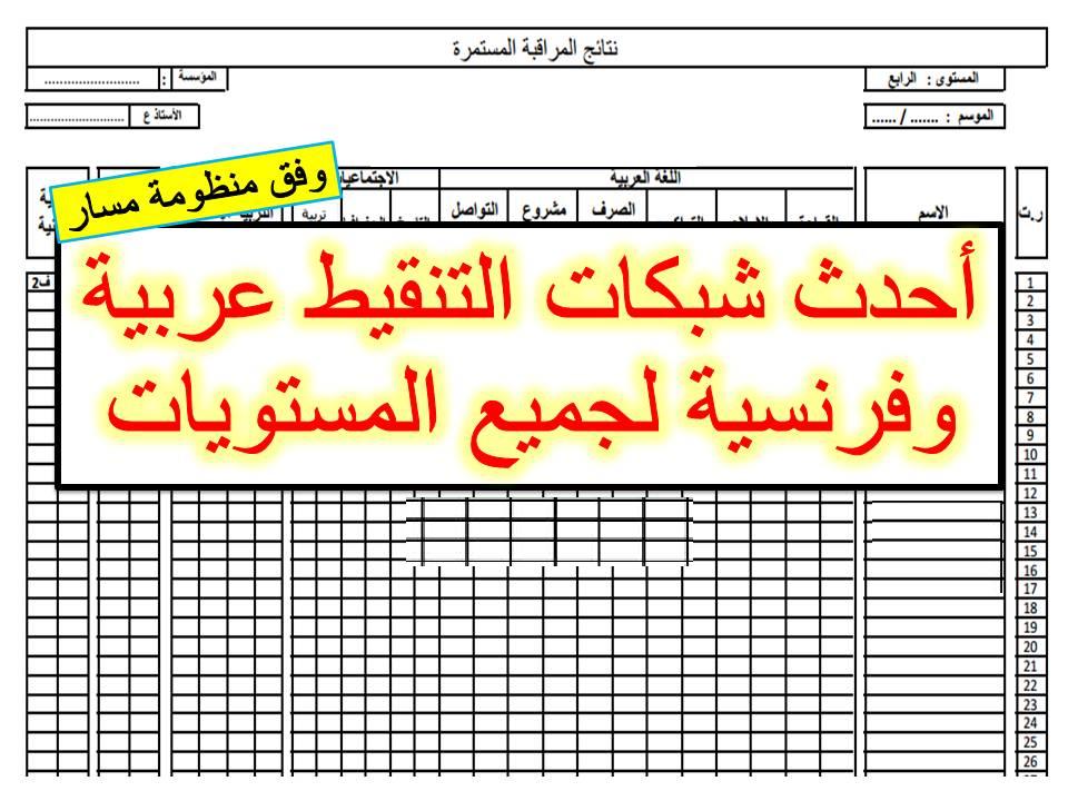 أحدث شبكات التنقيط عربية وفرنسية لجميع المستويات وفق مسار 2020