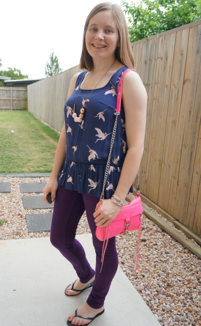 navy bird print peplum Kmart tank with purple skinny jeans and pink accessories | away from blue