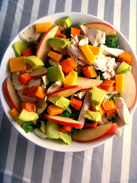 Healthy Salad Formula - Shredded Chicken & Sweet Potato Salad:  A wonderfully crisp and light salad bursting with fall flavors! - Slice of Southern