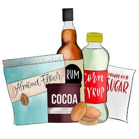 illustration of rum ball ingredients