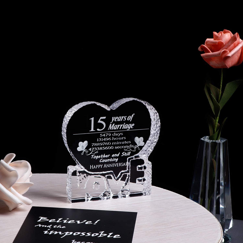 Crystal Paperweight Keepsake 15 Year Marriage Gift