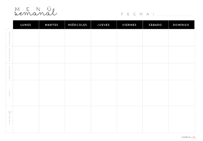 menu semanal descargar gratis