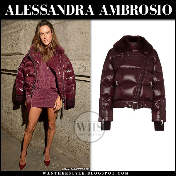 Alessandra Ambrosio wears burgundy purple padded puffer moncler foulque jacket and mini dress. Fashion week model outfits february 2019