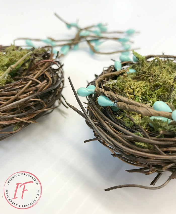 Farmhouse Spring Nest Decor on a budget with upcycled succulent pots and dollar store bird nest florals. A quick and easy Spring decor idea.