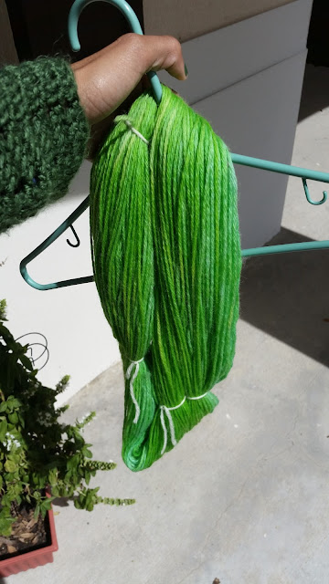 hand dyed, yarn, wool, easter egg dye, diy, green yarn
