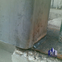 Defecto en soldadura y en plancha base de columna