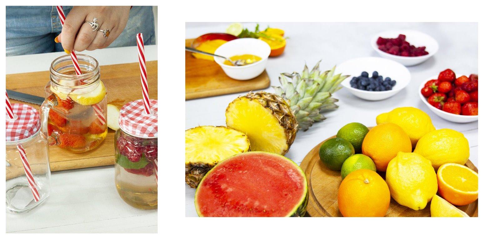 6 owoce sezon na lemoniadę browin jak zrobić pyszne napoje deser pomysły na przekąski na urodziny wakacje przyjęcie lato słoiki duży słój z kranem na lemoniadę słoiki ze słomką z uchem sklep gdzie kupić łódź