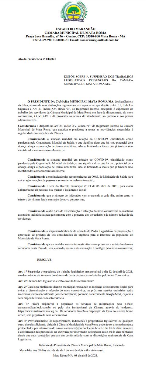 Câmara Municipal de Mata Roma publica novo decreto administrativo de Nº 04/2021 de 08 de abril de 2021