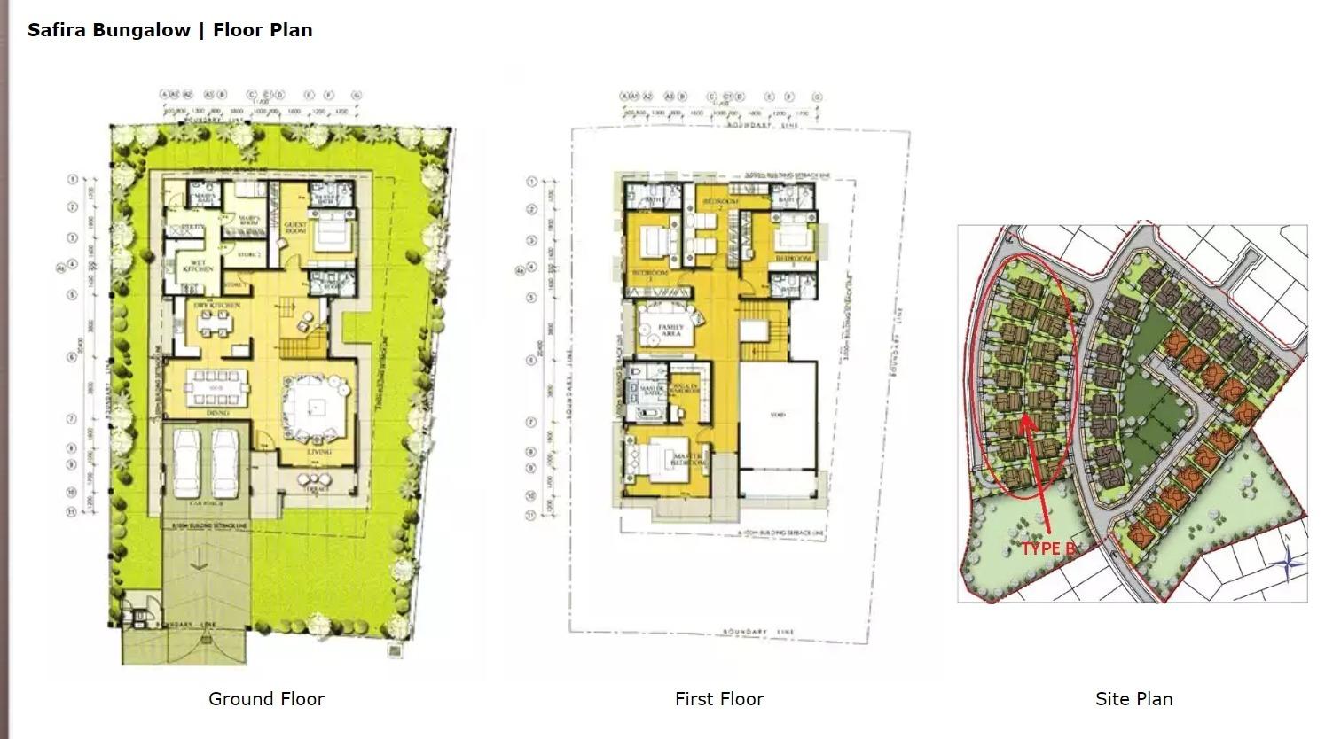 Safira Bungalow Type B Design Layout Aida Aspire Properties