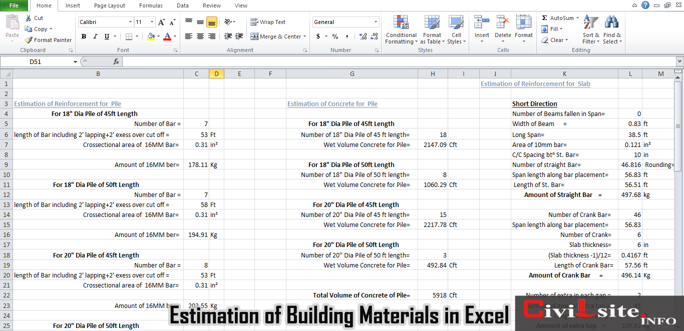 Estimation of Building Materials in Excel Sheet