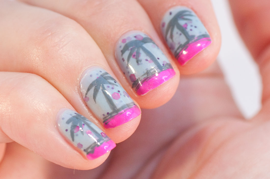 Simple palm tree nail art manicure