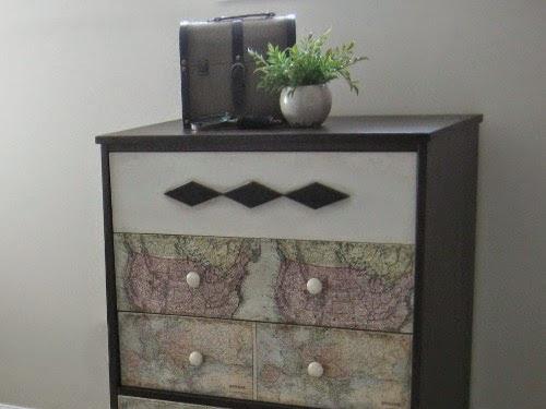 Mid-Century Modern Decoupaged Map Dresser