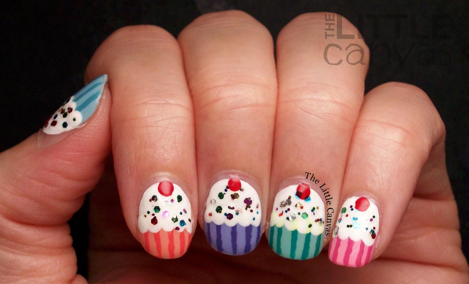 Birthday Cupcake Nail Art! - The Little Canvas