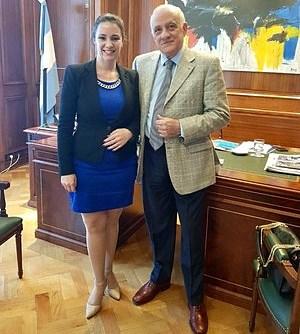 El Presidente de la Confederación Argentina de la Mediana Empresa Fabián Tarrío recibe en su despacho a Nancy Clara