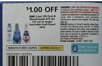 """$1.00/1 Crest Mouthwash Coupon from """"PG"""" insert week of 9/5/21."""