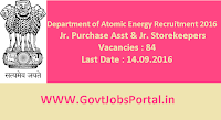 Department of Atomic Energy Recruitment 2016