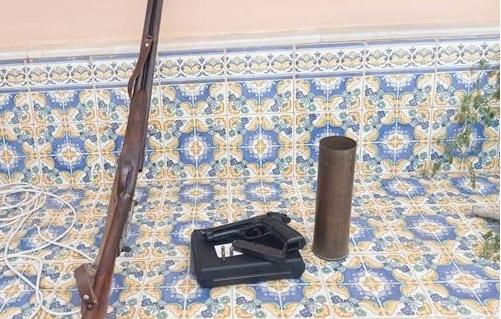 المهدية : حجز مسدس وبندقية صيد وحشوة دافعة للقذائف