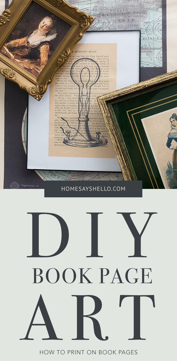 DIY Book Page Art - How to Print on Book Pages - really easy tutorial using MS Word