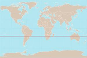 Mapa de localización del Trópico de Capricornio, en el hemisferio Sur