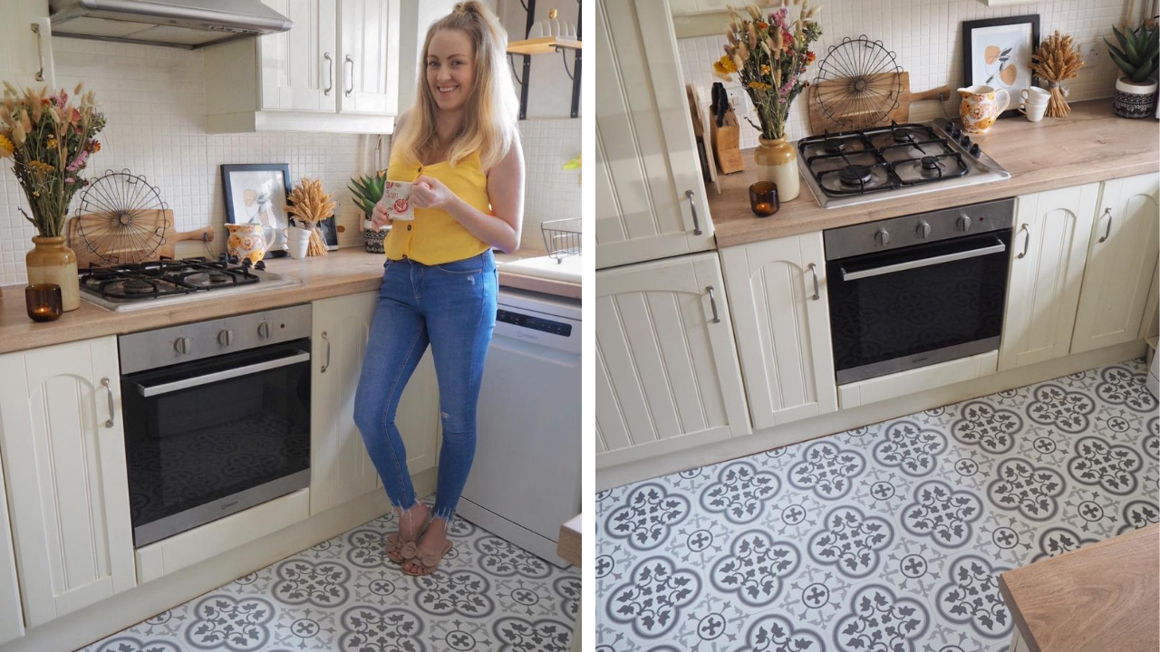How to lay vinyl floor tiles & revamp a tired kitchen