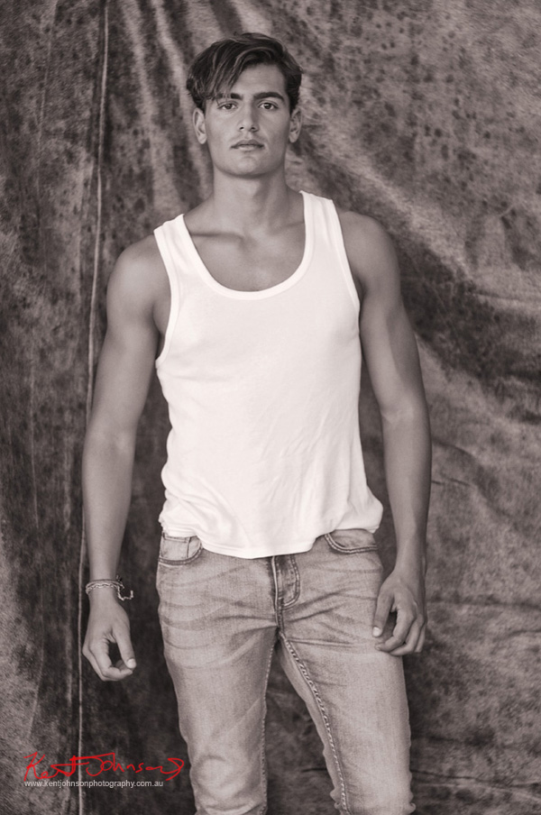 Studio Black and White, Jeans and singlet, Men's Fashion Modelling Portfolio by Kent Johnson.
