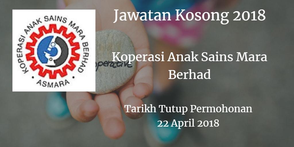 Jawatan Kosong Koperasi Anak Sains Mara Berhad 22 April 2018